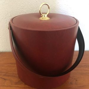 Mahogany red leather ice bucket by Georges Briard